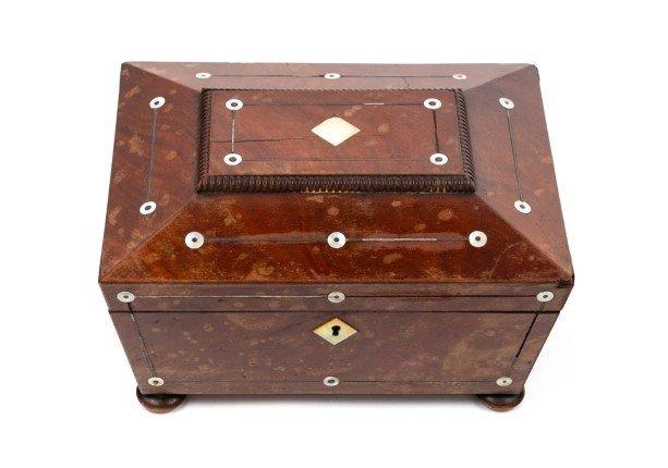 An English Mother-of-Pearl Inlaid Mahogany Box
