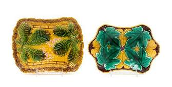 Two Majolica Serving Dishes Width of wider 10 5/8