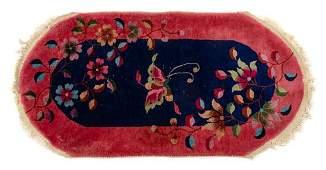 * A Chinese Wool and Silk Rug 3 feet x 2 feet.