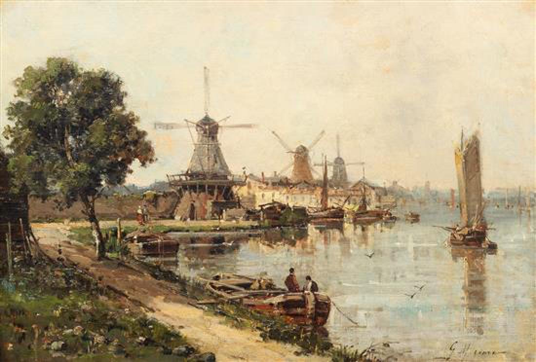 Gustave Mascart, (French, 1834-1914), Barges on a Dutch
