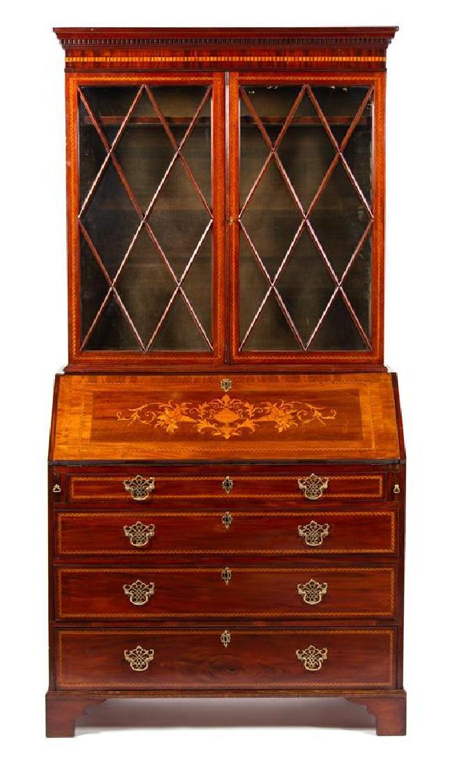A George III Style Inlaid Mahogany Secretary Bookcase
