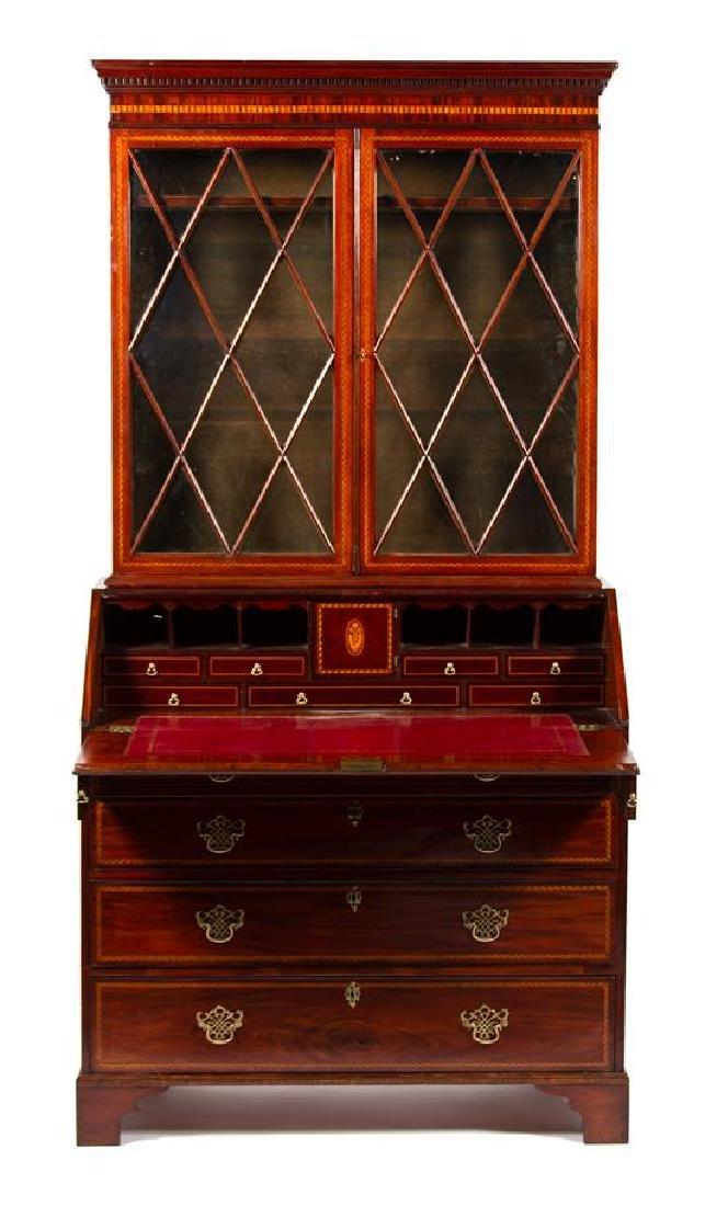 A George III Style Inlaid Mahogany Secretary Bookcase - 2