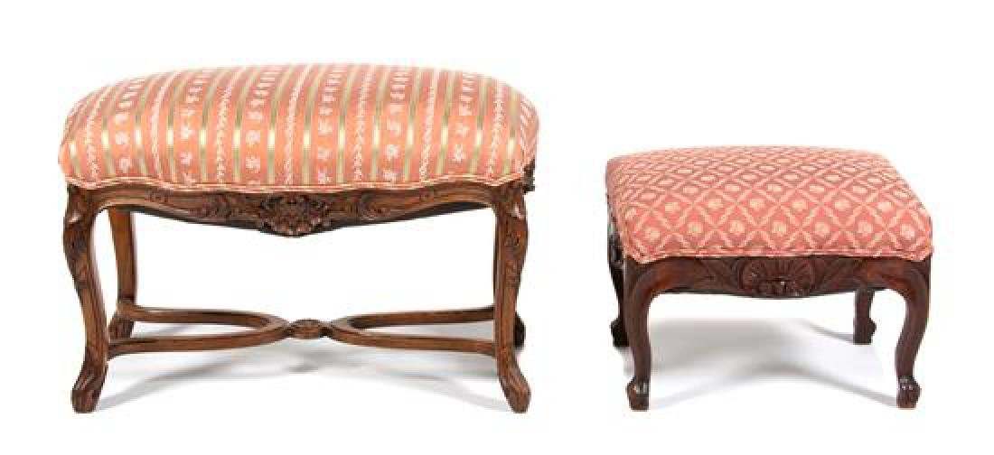 Louis XV Style Carved Walnut Bench and Foot Stool