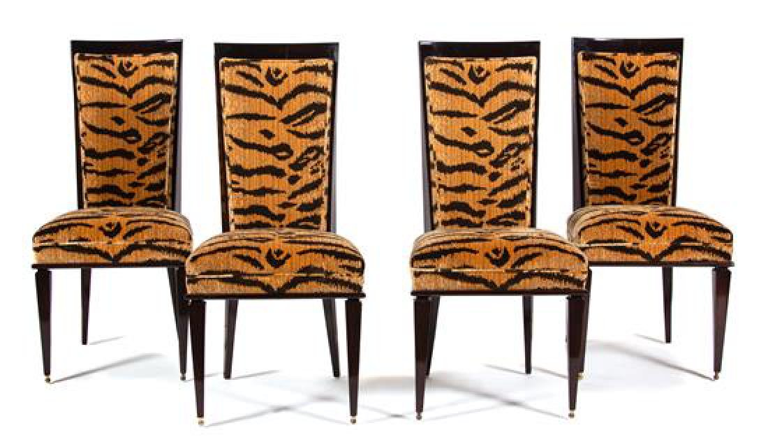 A Set of Four Art Deco Style Black Lacquer Dining