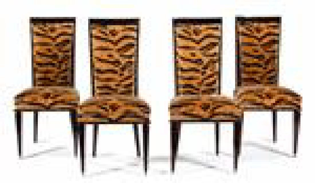 A Set of Four Art Deco Style Black Lacquer Dining - 2