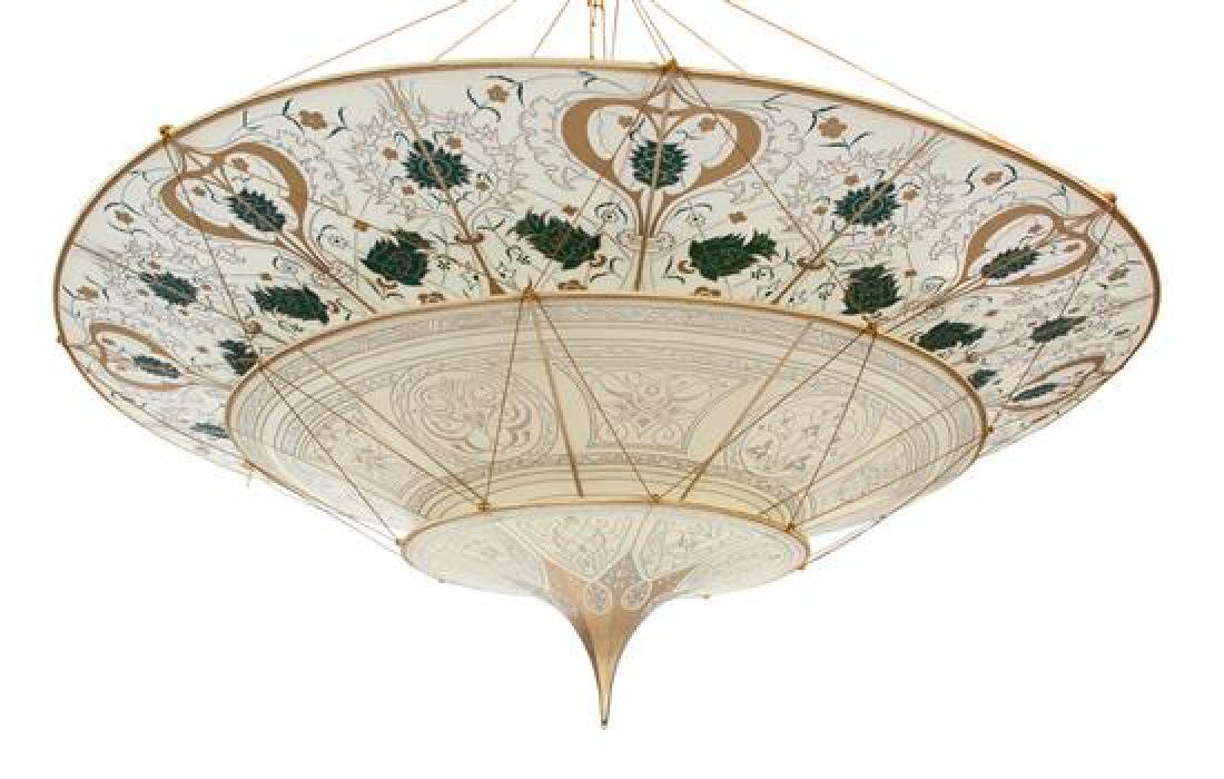 A Fortuny Silk Scheherazade Three-Tier Chandelier