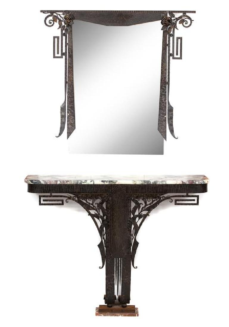 An Art Deco Iron Work and Marble Top Console Table with