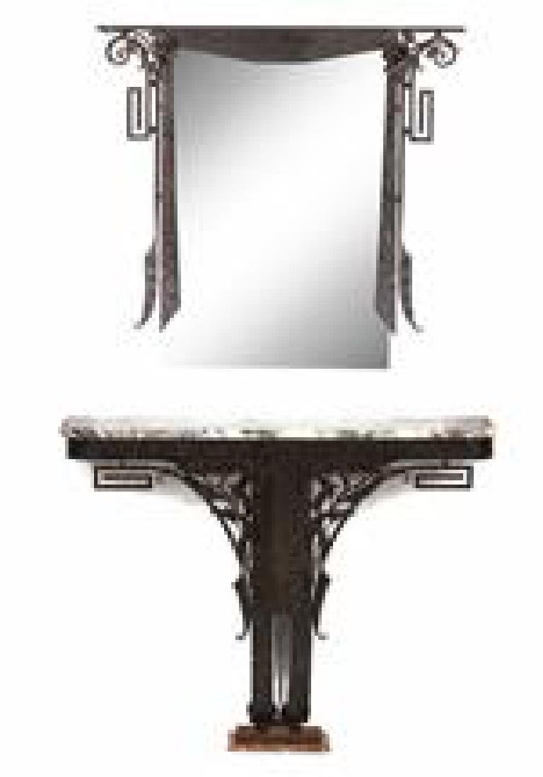 An Art Deco Iron Work and Marble Top Console Table with - 2