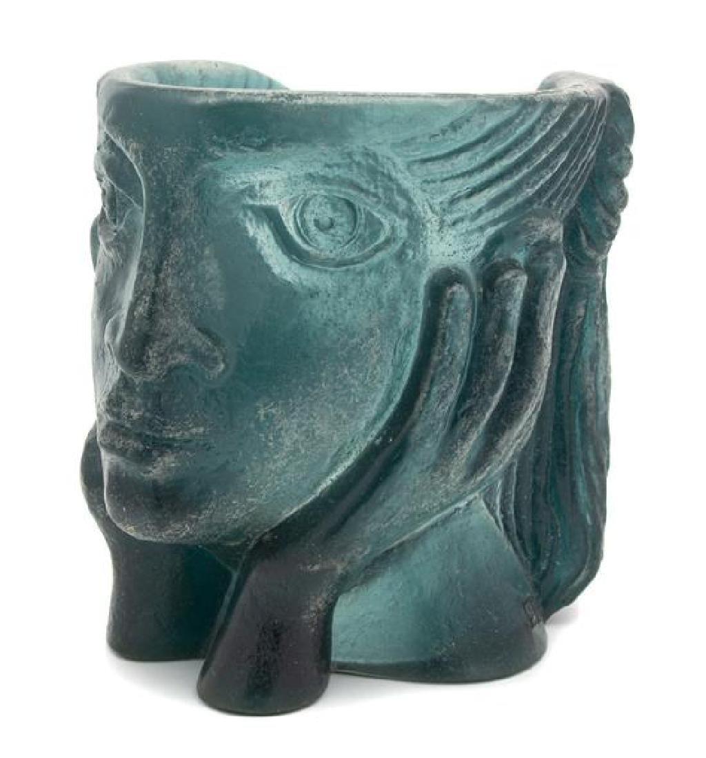 A Daum Pate-de-Verre Figural Sculpture Height 9 1/2