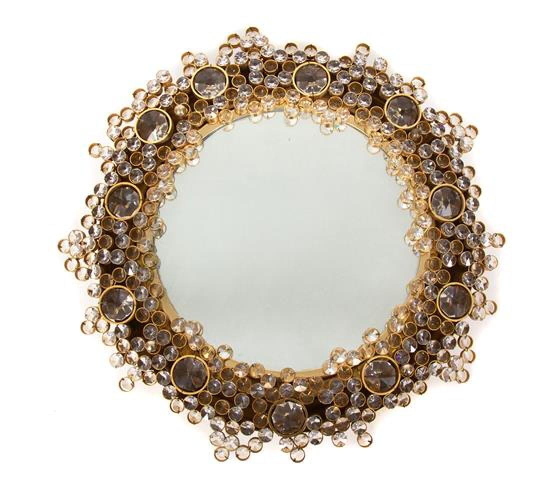 An Austrian Brass and Glass Mirror Diameter 18 1/2