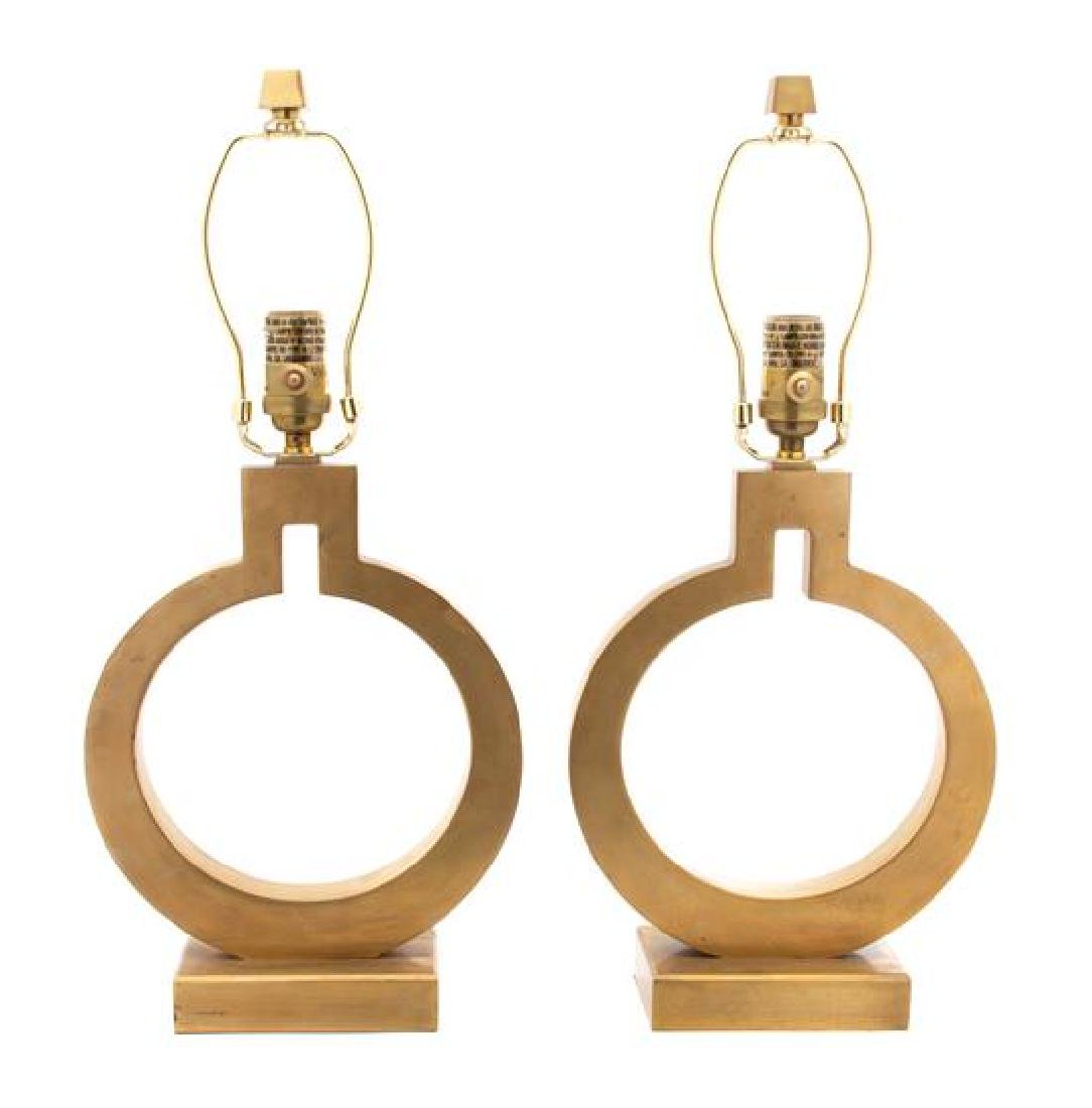 A Pair of Modern Brushed Gilt Metal Circular Lamps