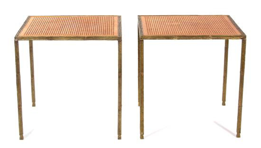 A Pair of Contemporary Gilt Bronze Side Tables Height