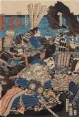 A Framed Grouping of Three Yoshimori Wood Block Prints