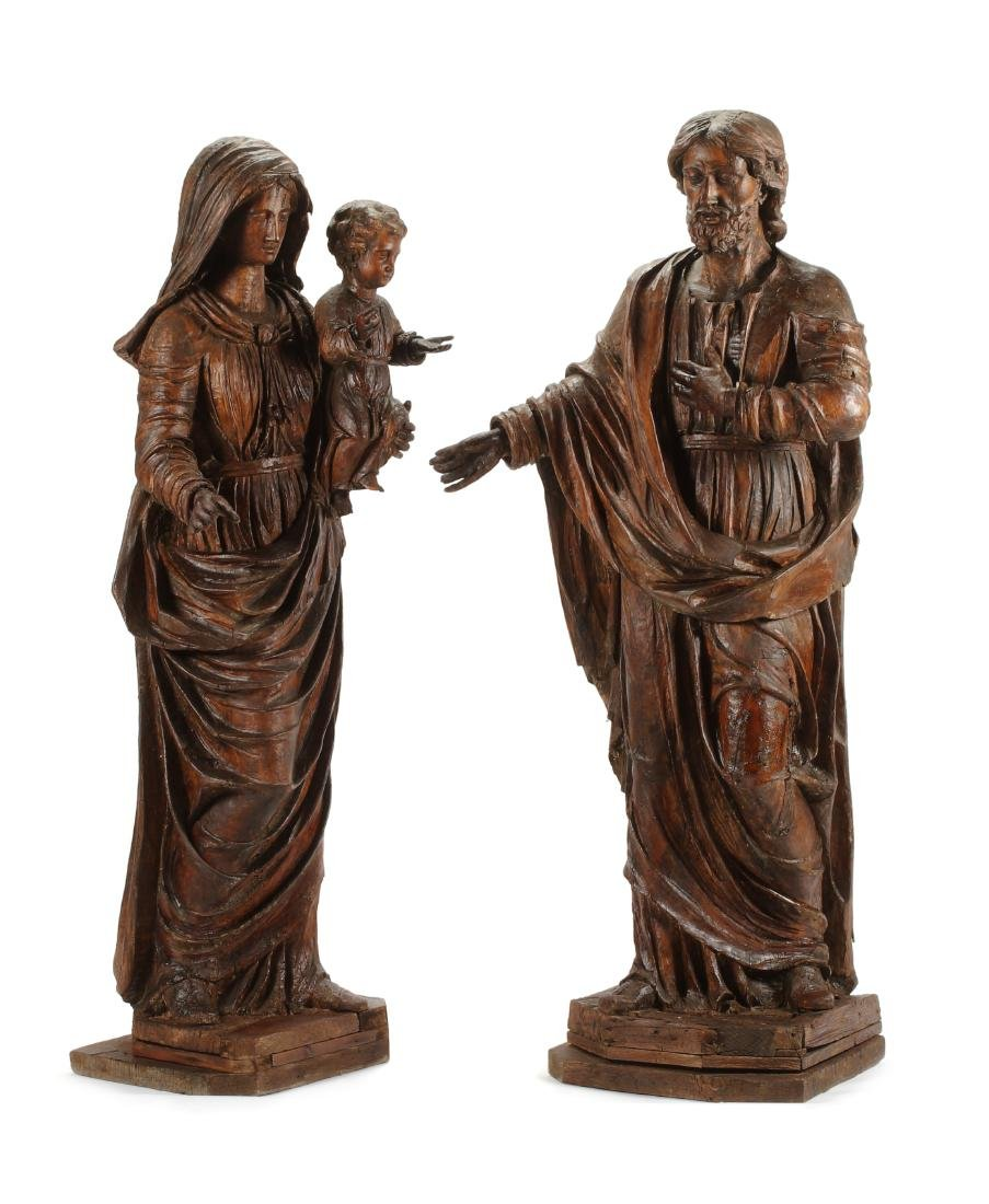 A Pair of French Carved Walnut Figures Height 67