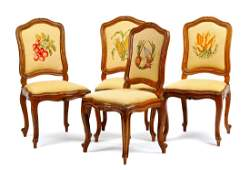 A Set of Four French Provincial Side Chairs Height 39