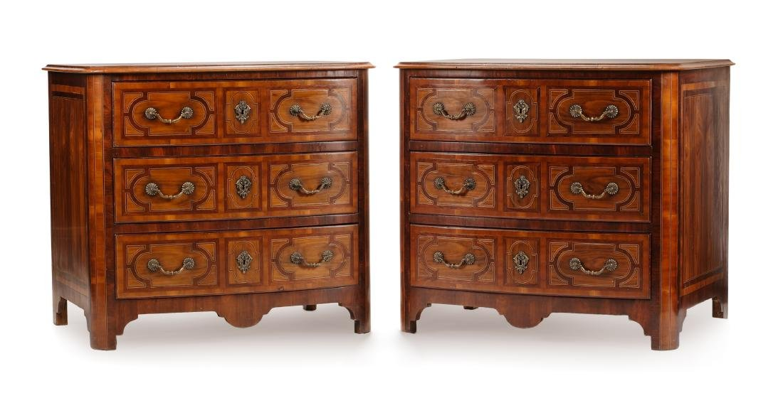 A Pair of Regence Style Various Wood Commodes Height 34