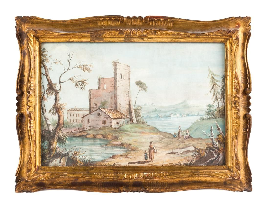 French School, (19th Century), Village Landscape Scenes