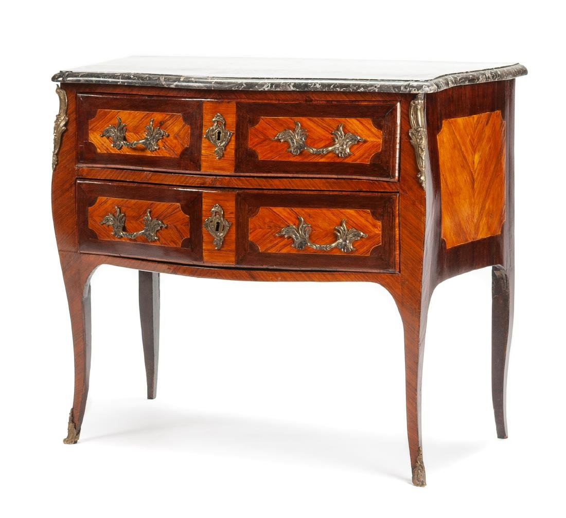 A Louis XV Gilt Bronze Mounted Amaranth Commode Height