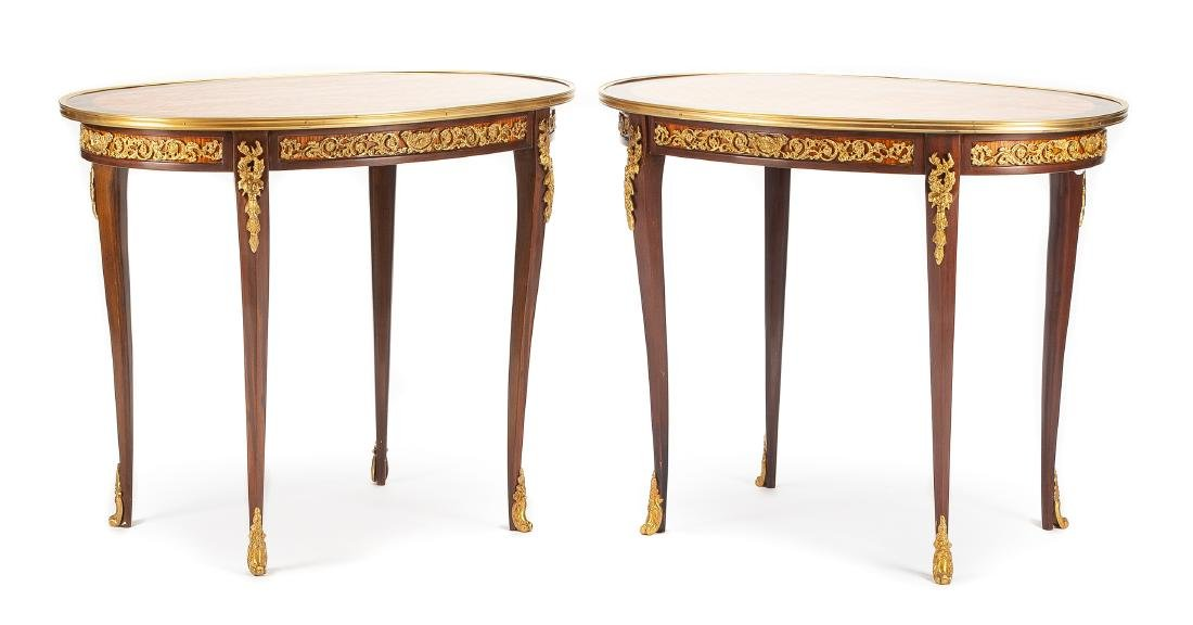 A Pair of Louis XV Style Gilt Bronze Mounted Side