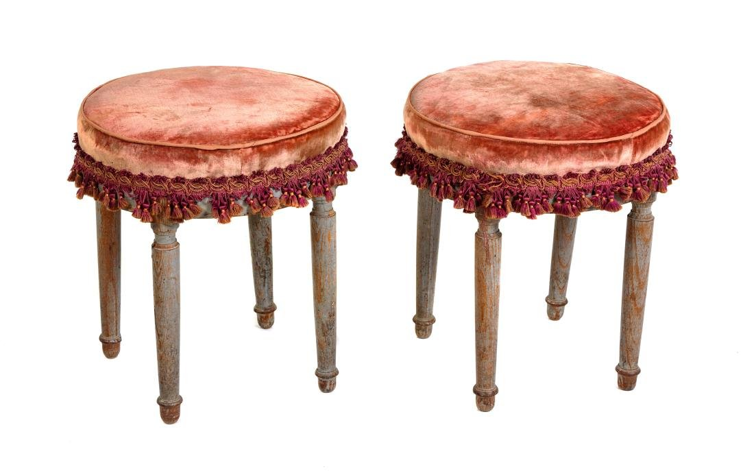 * A Pair of Louis XVI Style Painted Tabourets Height 16