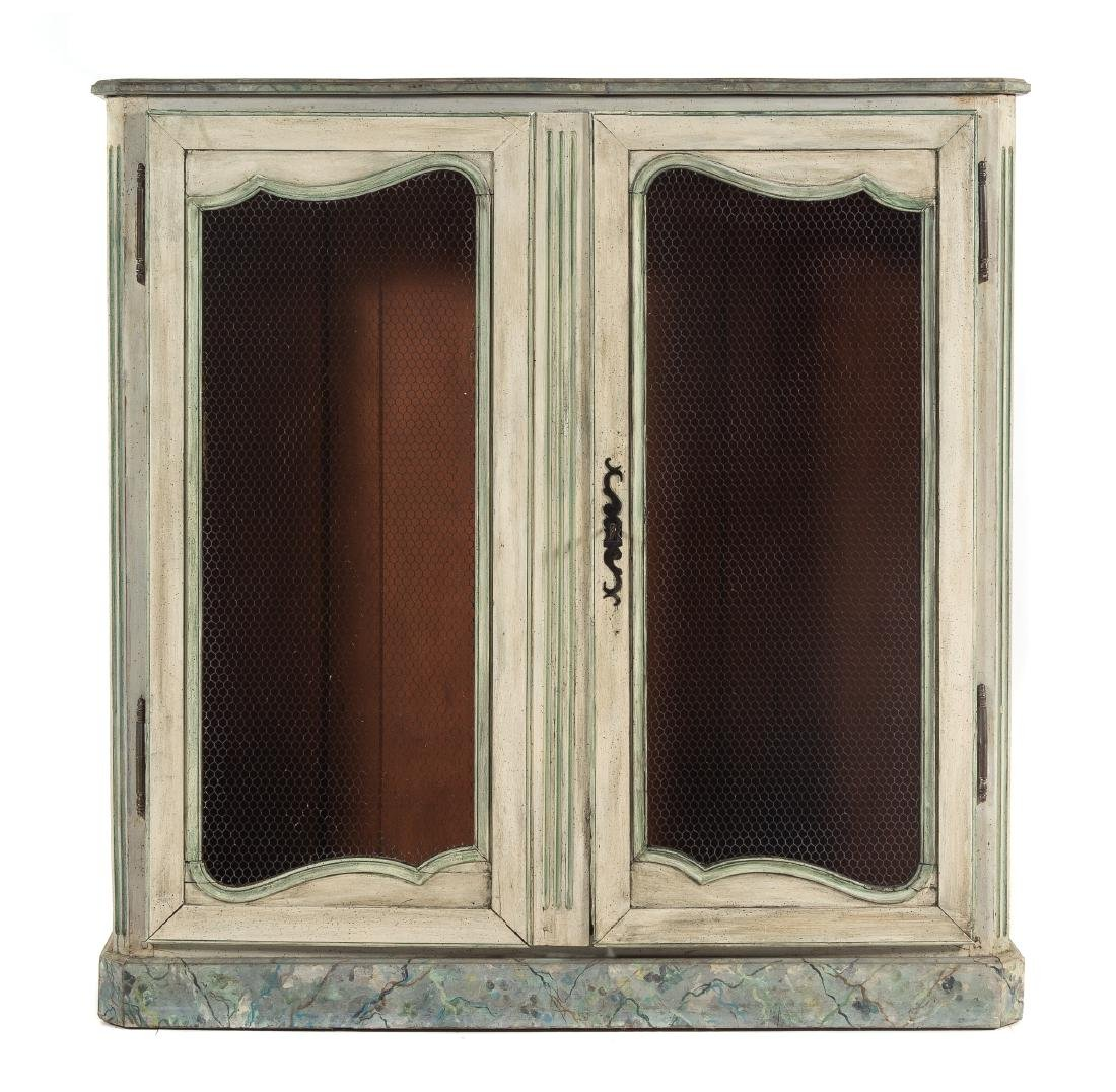 * A Louis XVI Style Faux Painted Bibliotheque Height 54