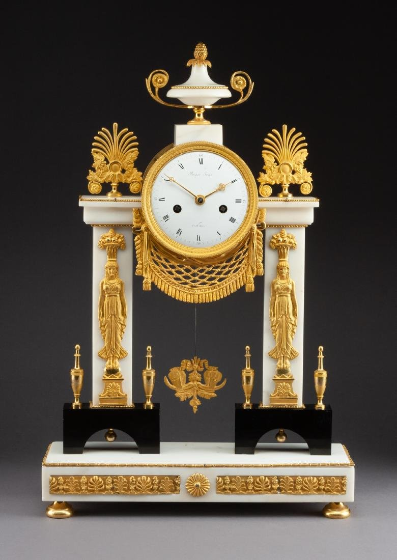 A French Neoclassical Gilt Bronze and Marble Mantel