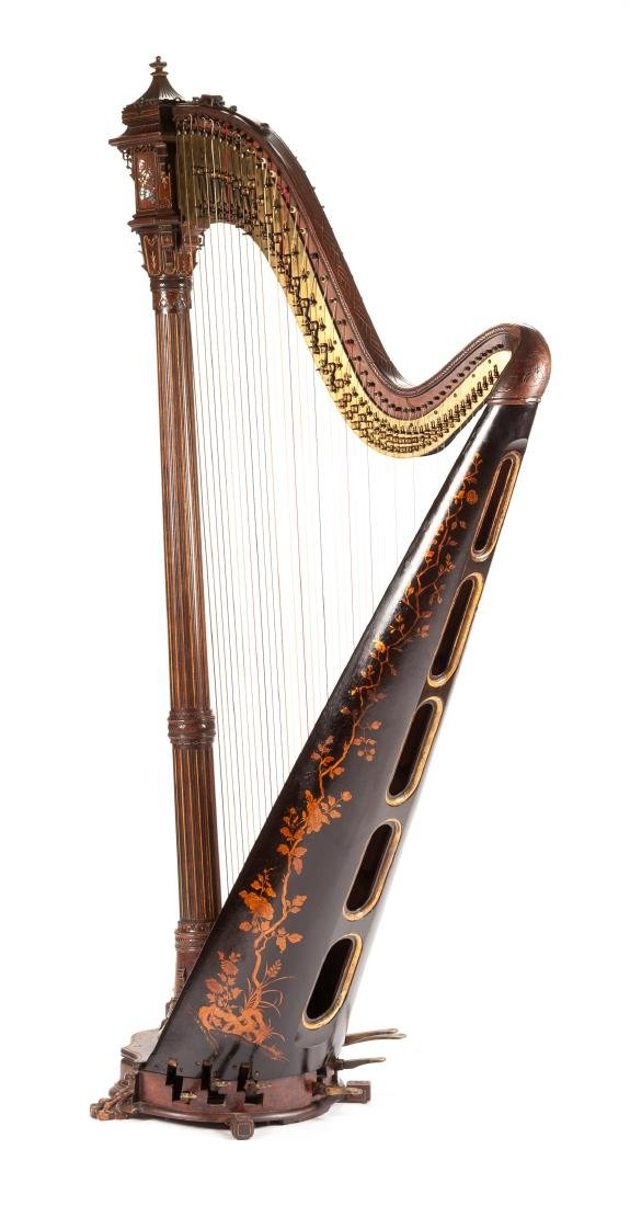 A French Japonesque Mother-of-Pearl Inlaid Harp Height