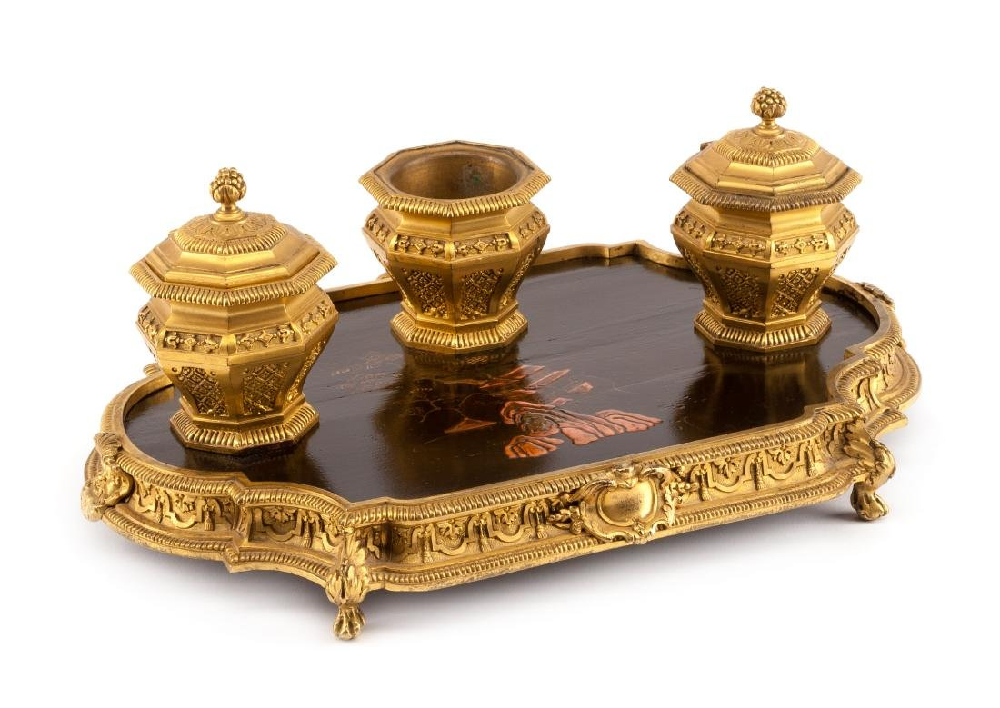 A French Gilt Bronze and Lacquered Inkwell Width 13 3/4