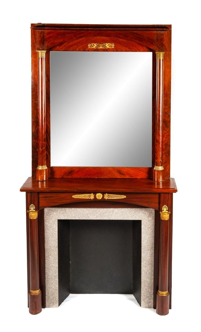 An Empire Style Gilt Bronze Mounted Mahogany Mantel