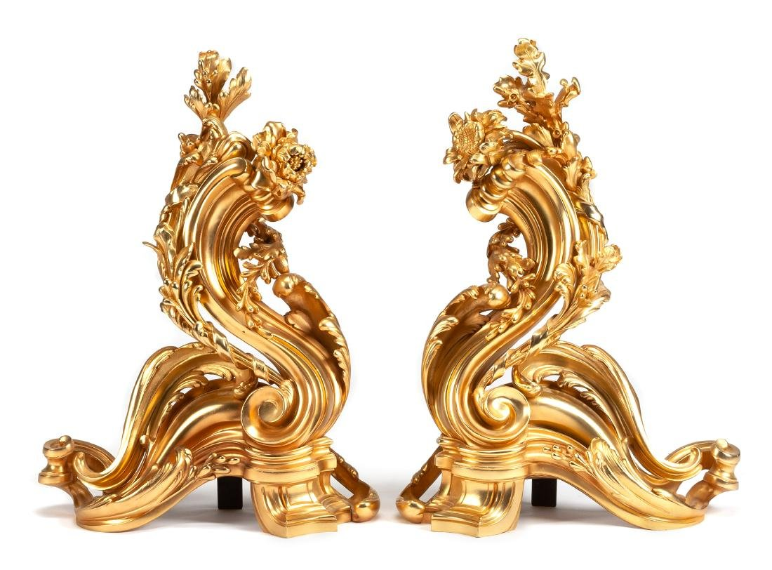 A Pair of Napoleon III Style Gilt Bronze Chenets Height