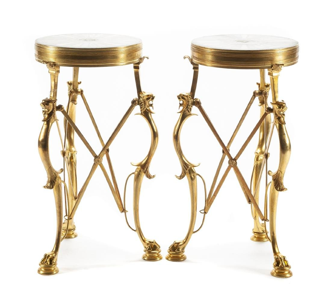 A Pair of French Neoclassical Style Gilt Bronze and