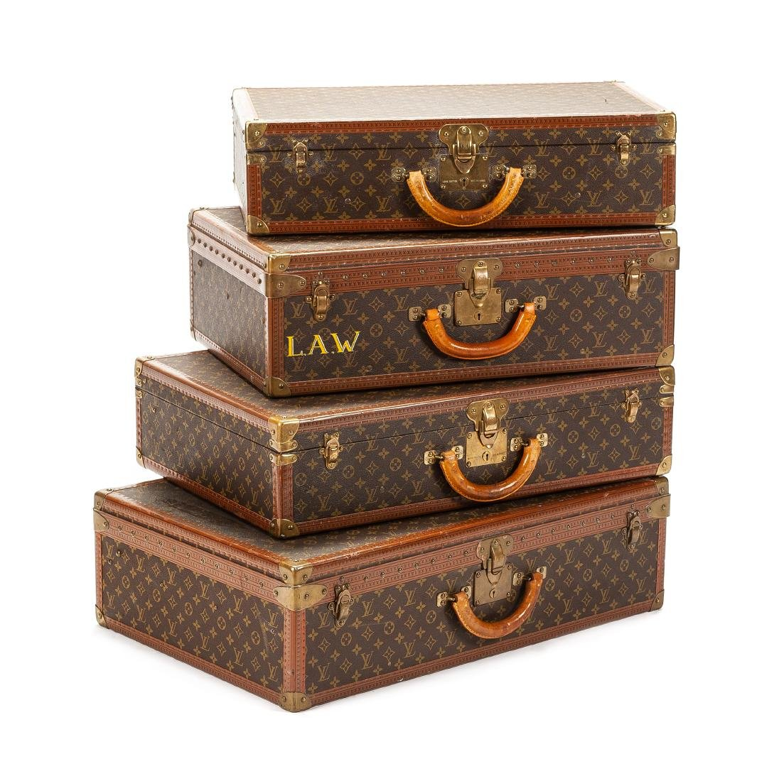 Four Louis Vuitton Suitcases Height 20 x width 29 3/4 x