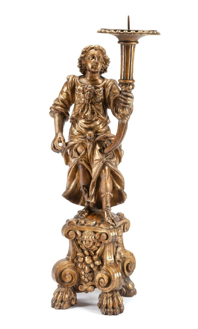 An Italian Carved Giltwood Figural Torchere Height 47