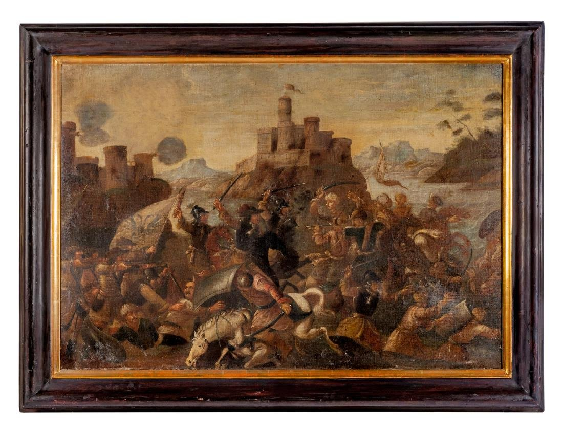 Continental School, (18th Century), Battles (a pair of