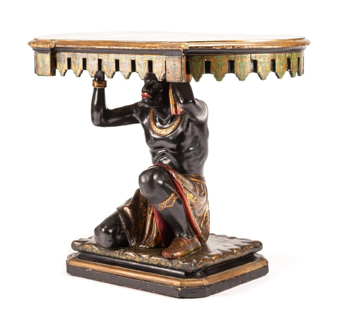 A Venetian Polychromed Figural Table Height 31