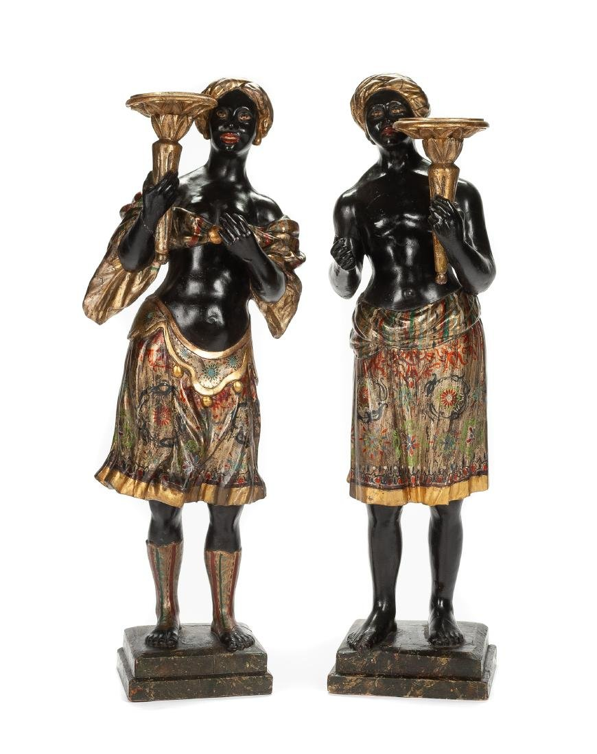 A Pair of Venetian Gilt and Polychromed Figures Height