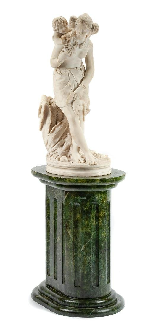 An Italian Marble Figural Group Height of marble 34