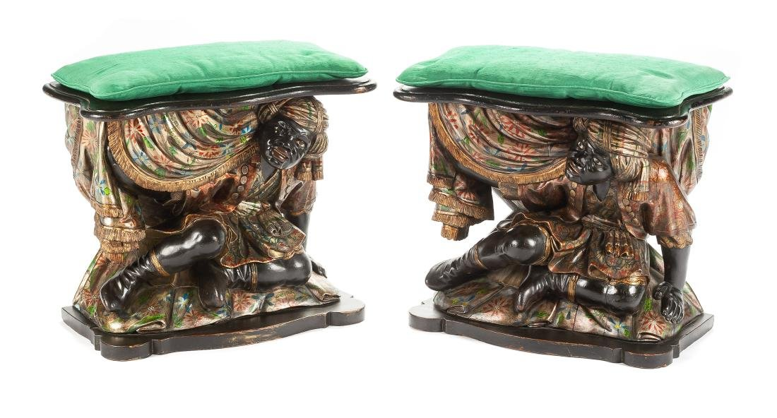 A Pair of Venetian Polychromed Figural Benches Height