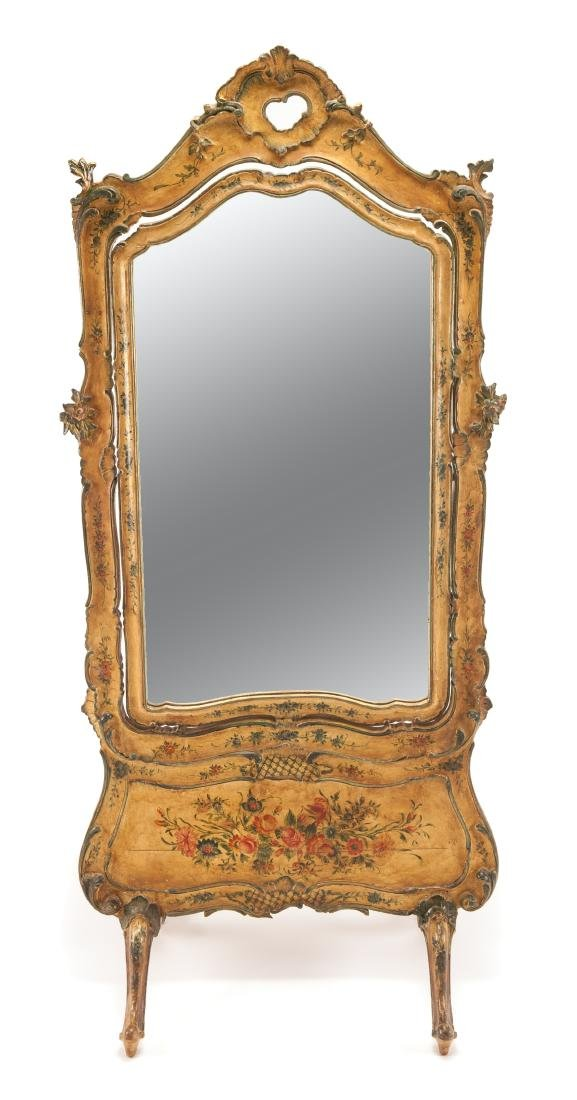 A Venetian Polychrome Painted Cheval Mirror Height 77