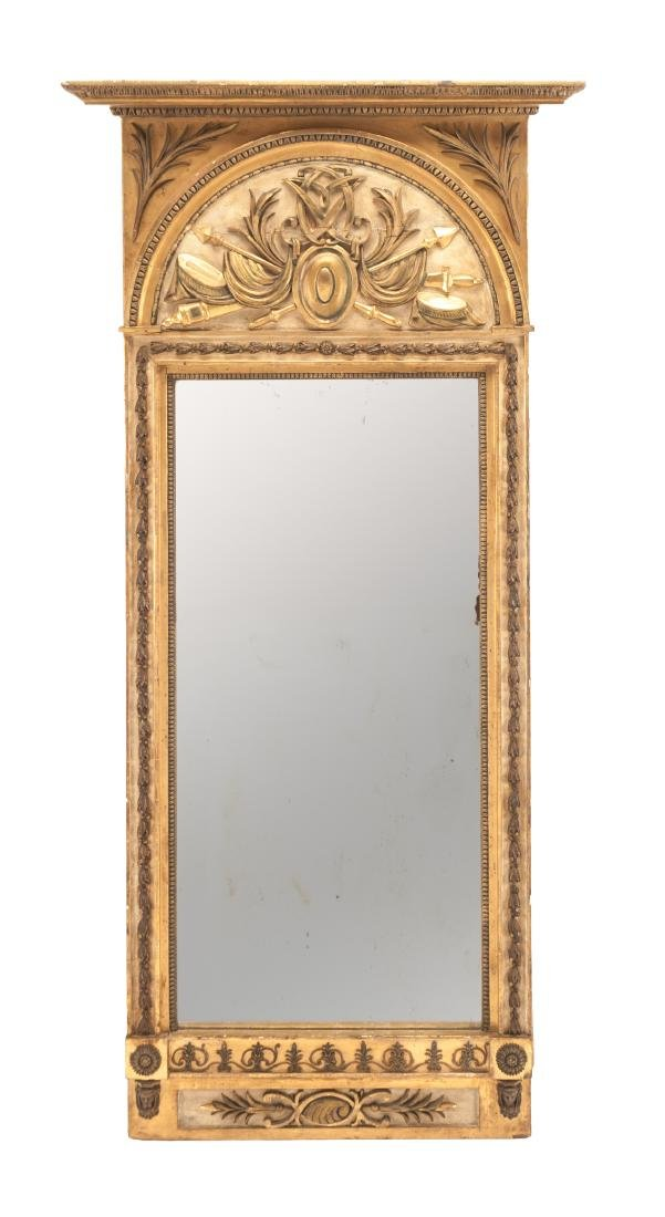 An Italian Neoclassical Painted and Parcel Gilt Mirror