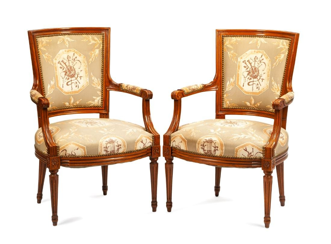 A Pair of Neoclassical Walnut Armchairs Height 34