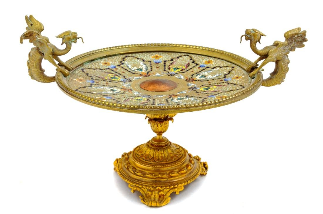 * A Continental Gilt Bronze and Champleve Tazza Height