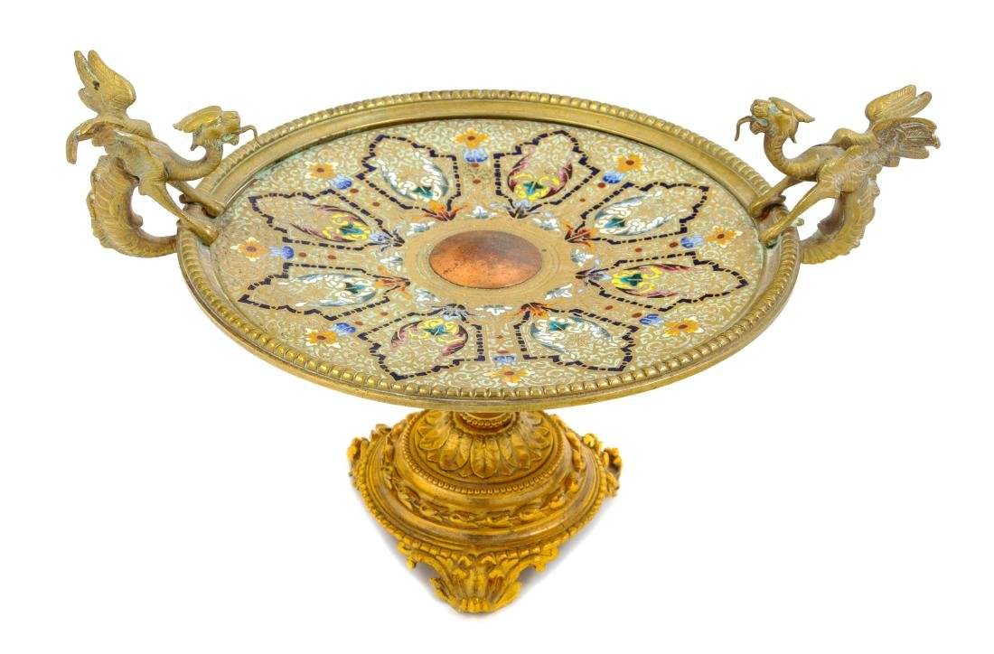* A Continental Gilt Bronze and Champleve Tazza Height - 2