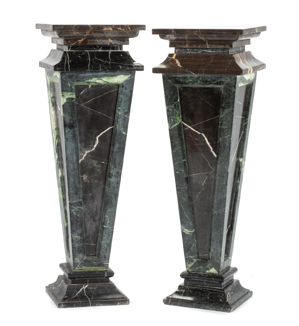 A Pair of Italian Neoclassical Style Marble Pedestals