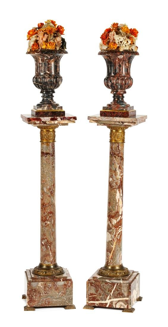 A Pair of Italian Carved Marble Urns with Floral