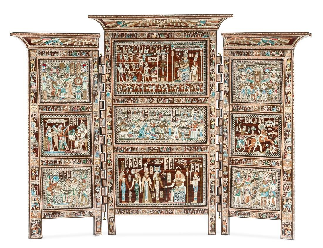 An Egyptian Revival Inlaid Three-Panel Floor Screen