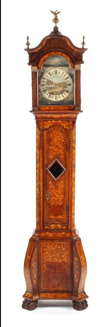 A Diminutive Dutch Marquetry Tall Case Clock Height 77