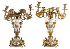 A Pair of Gilt Bronze and Berlin KPM Porcelain