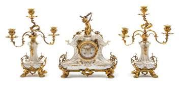 A Berlin KPM Porcelain and Gilt Bronze Clock
