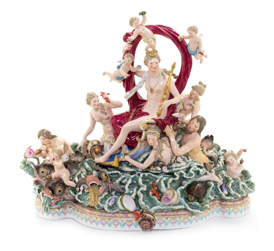 * A Pair of Large Meissen Porcelain Groups Depicting